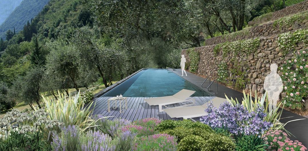 Lago d iseo villa privata con uliveti progettazione for Soluzioni giardino in pendenza